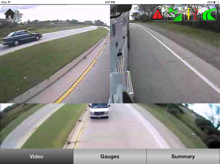 iPad screenshot views of road surrounding the truck