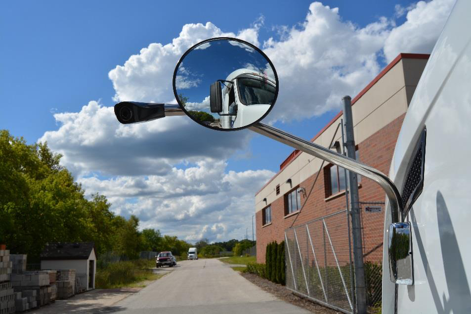 Side blind spot camera and mirror on truck