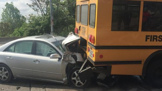 Car and bus accident crash
